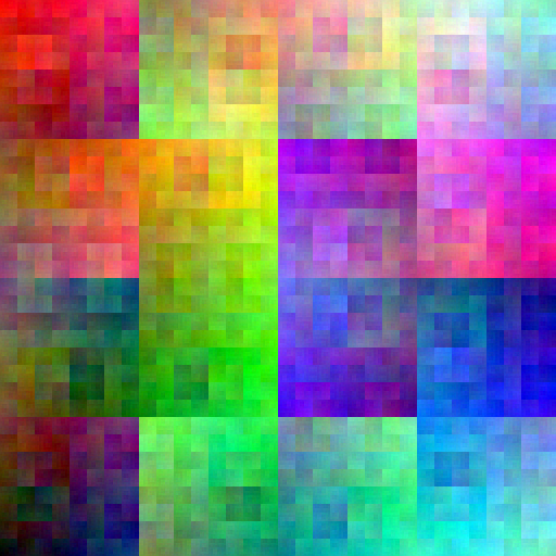 allRGB image created by traversing image in 2D Hilbert curve order, assigning colors from the RGB cube in 3D Hilbert curve order.