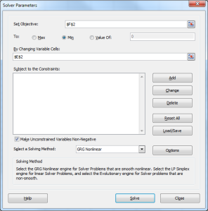 Excel Solver dialog showing the desired settings to estimate alpha minimizing SSE.