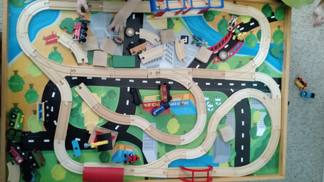 An unfinished train track, with all available track pieces shown.